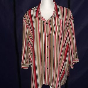 Notations womens vertical striped blouse